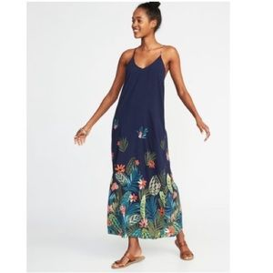 Old navy floral tropical maxi shift dress navy S